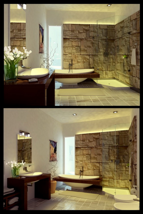 Unique modern bathroom decorating ideas designs for Cool bathroom ideas