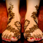 floral eid mehndi design for feet