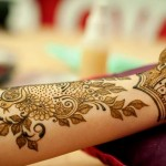 leafy flower henna design for eid