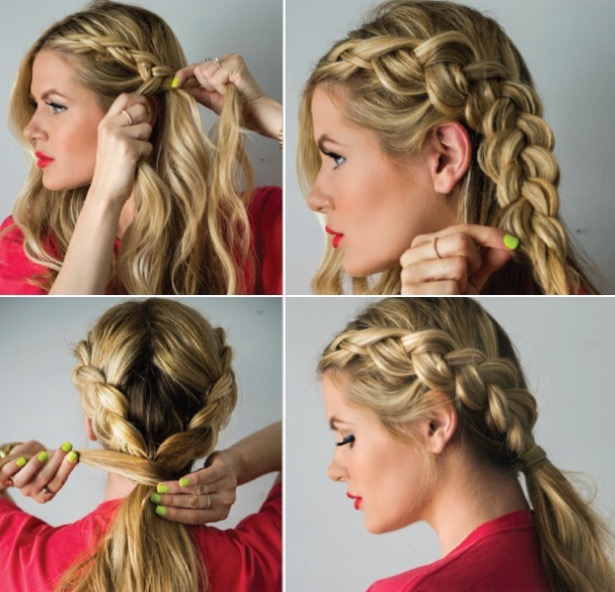 Double Braided Ponytail Hairstyle Tutorial For Eid 2016