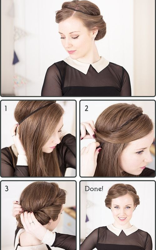 Headband Updo Hairstyle Tutorial For Eid 2016