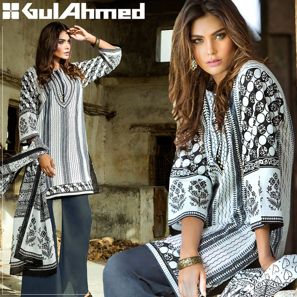 Black and white suit by gul ahmed for winter collection 2016