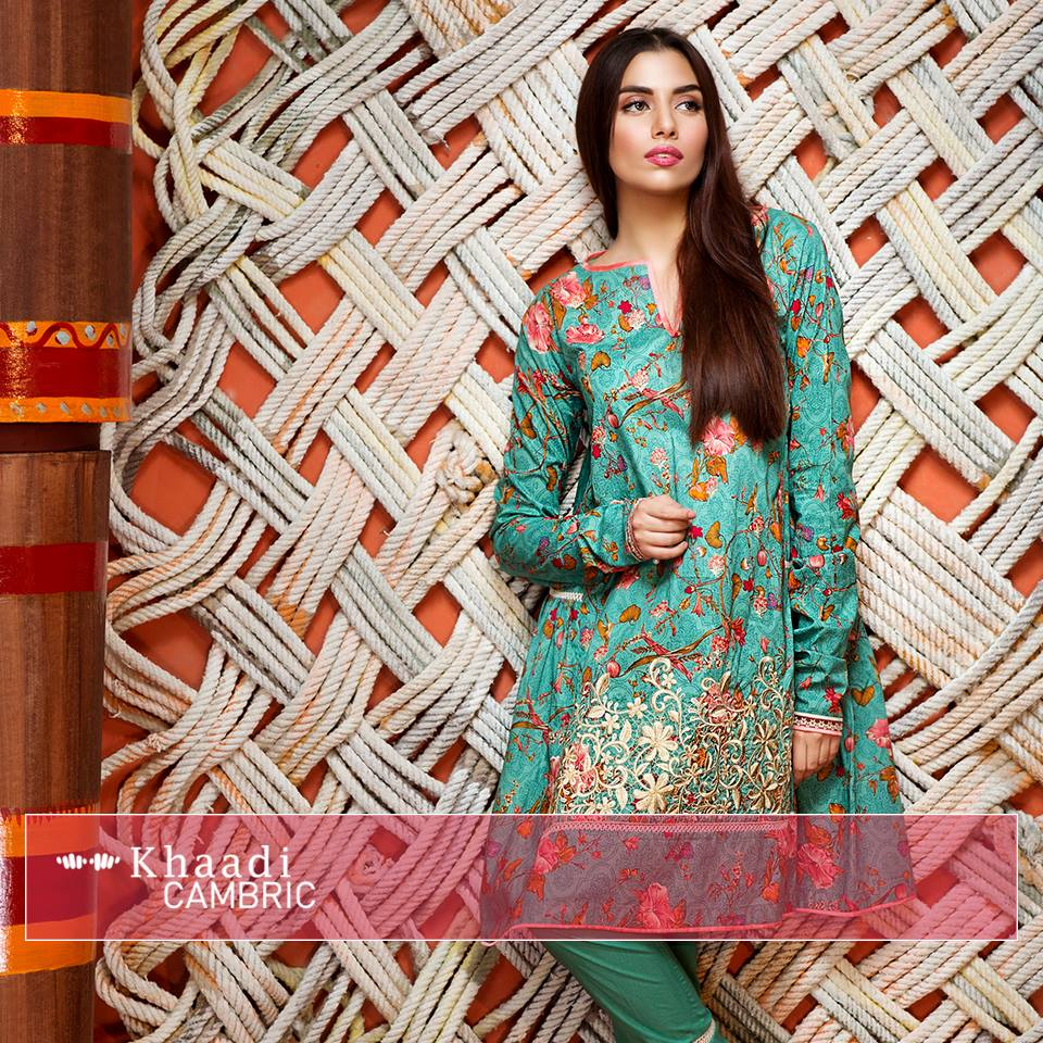 Sky blue floral dress by Khaadi for winter collection 2016