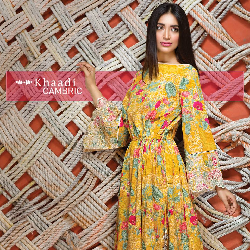 Yellow flowy dress by khaadi winter collection 2016