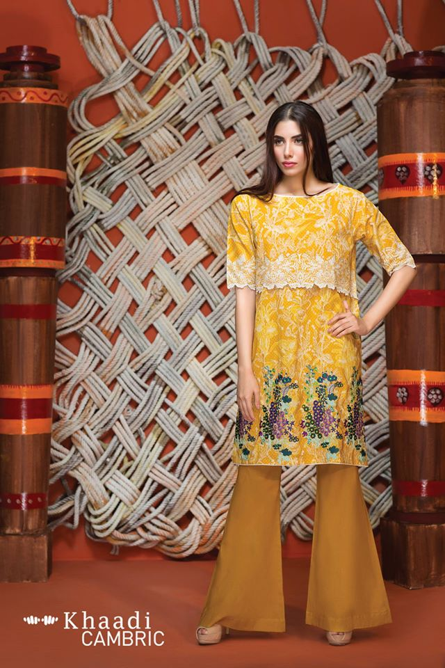 Msutard floral suit by khaadi for winter collection 2016