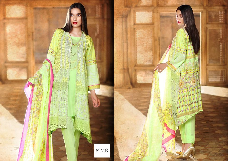 Light green gown dress for winter wear by shariq textiles 2016