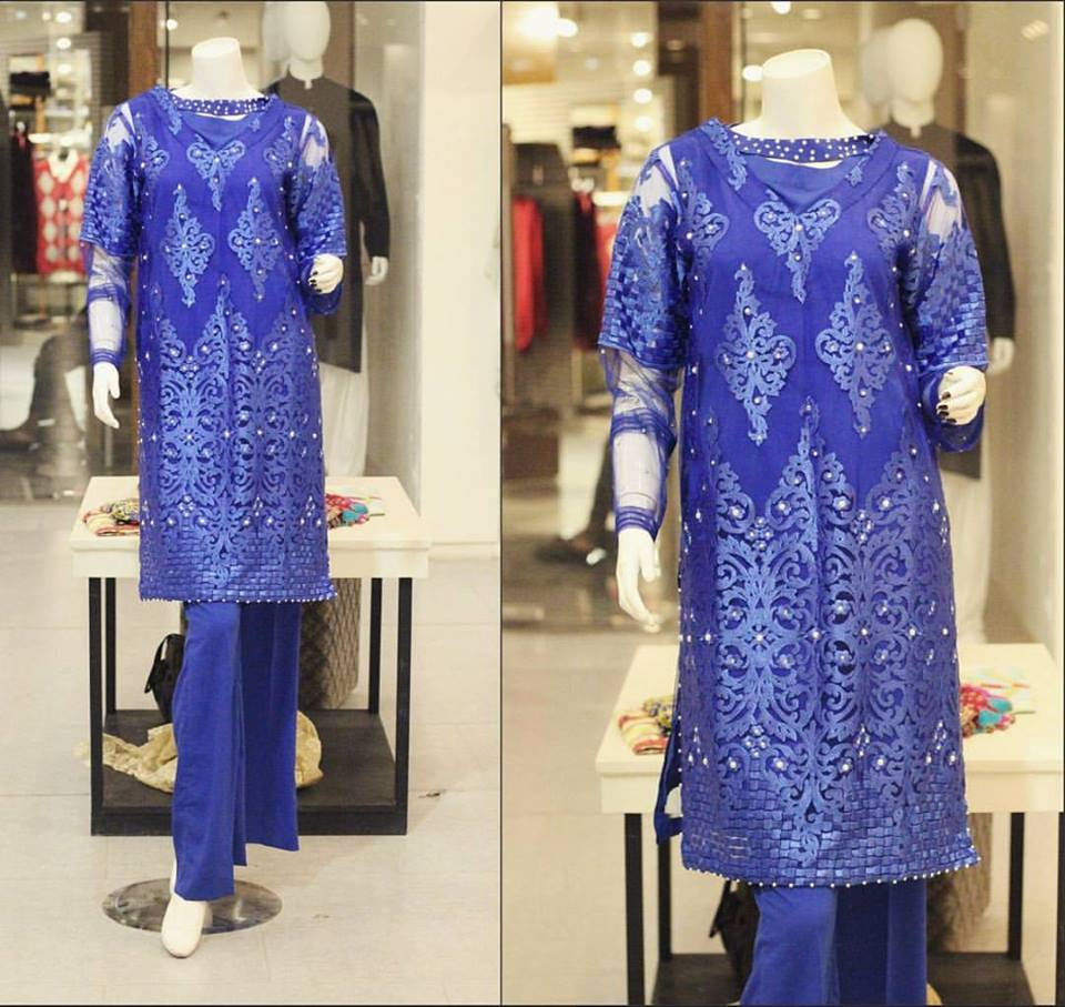 Bue party wear winter dress by zahra ahmad