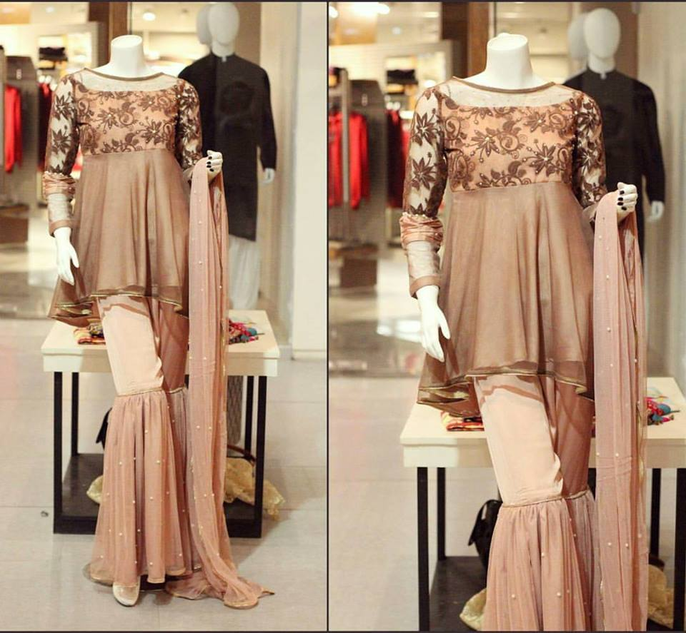 Brown party wear dress for winter by zahra ahmad