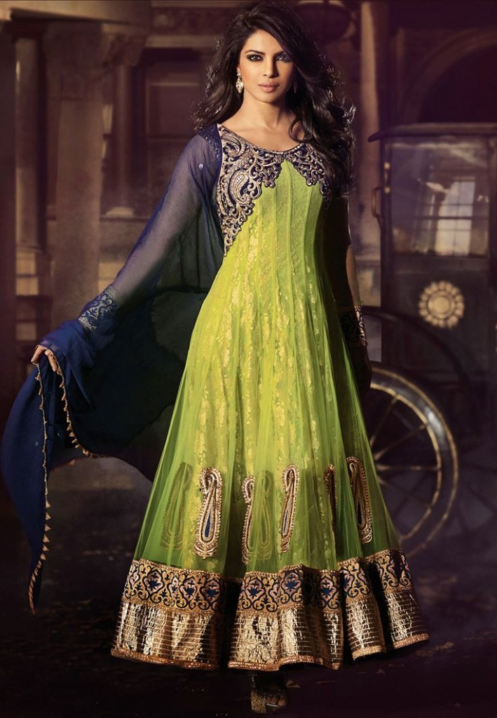 Indian Green and Blue Fancy Frock Design 2016