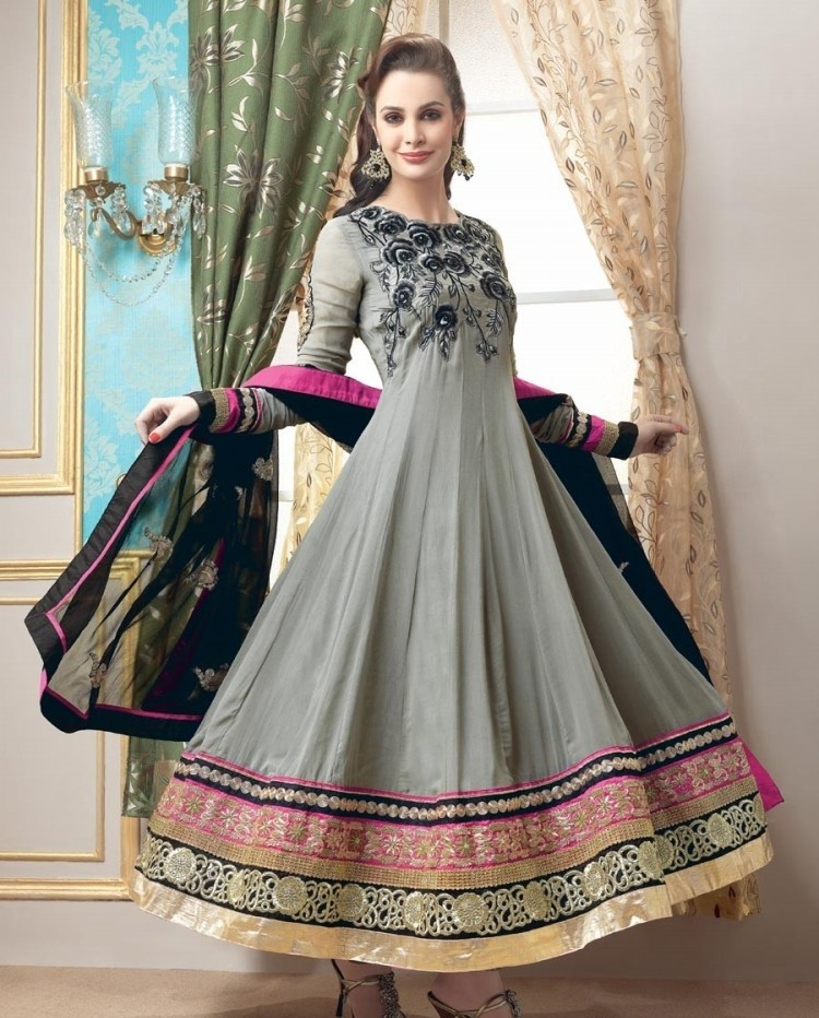 Gray Party Wear Embroidered Anarkali Frock