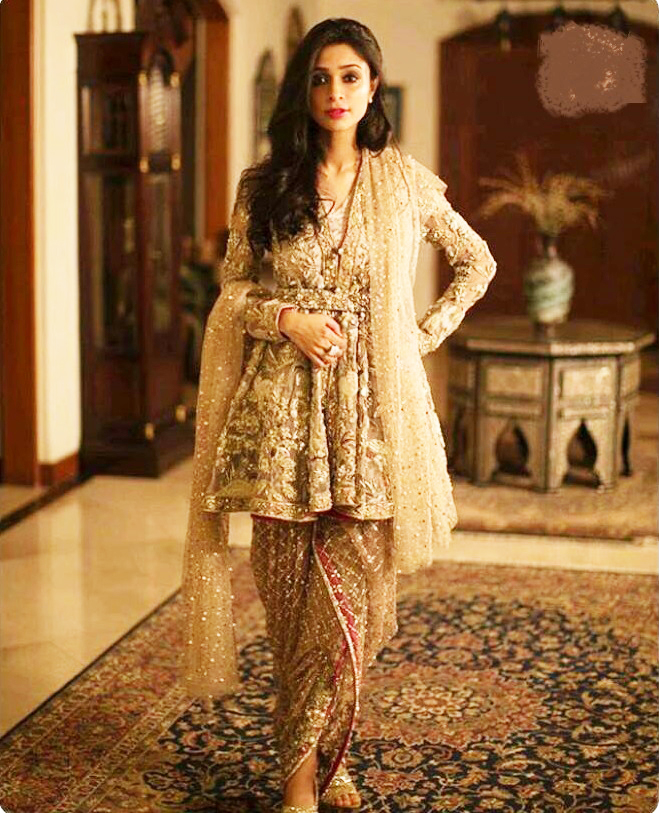 latest-style-short-frock-with-tulip-salwar-for-wedding