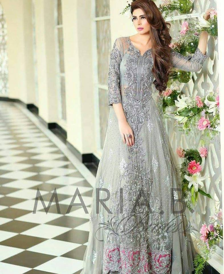 Silver Maxi by Maria B bridal collection 2016