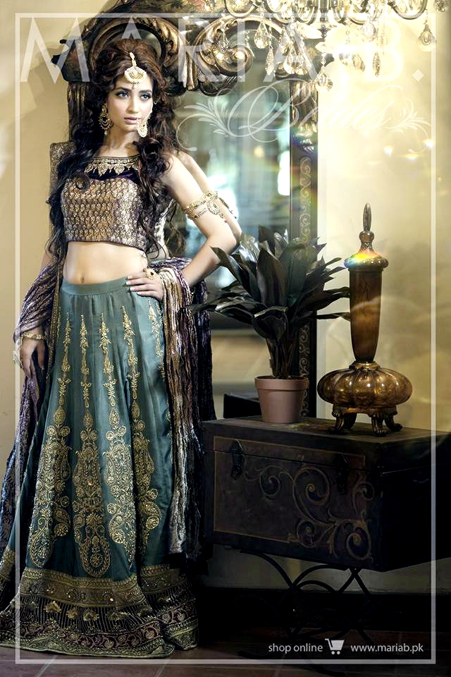 Teal blue lehnga choli for brides by Maria B 2016