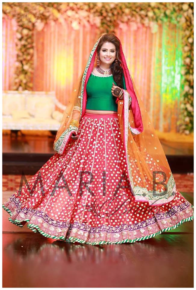 Colourful Mehndi dress by Maria B bridal collection 2016