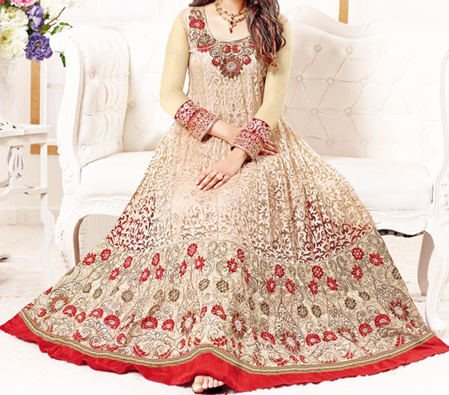 gown style floor length anarkali frock for wedding