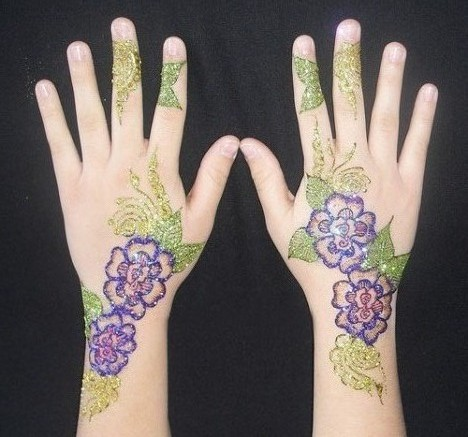 pakistani glitter mehndi design with flowers