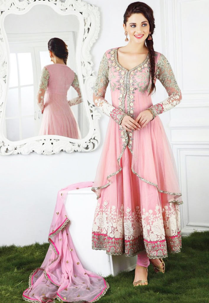 light pink casual and party wear long anarkali frock