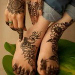 latest floral mehndi design for hand and feet