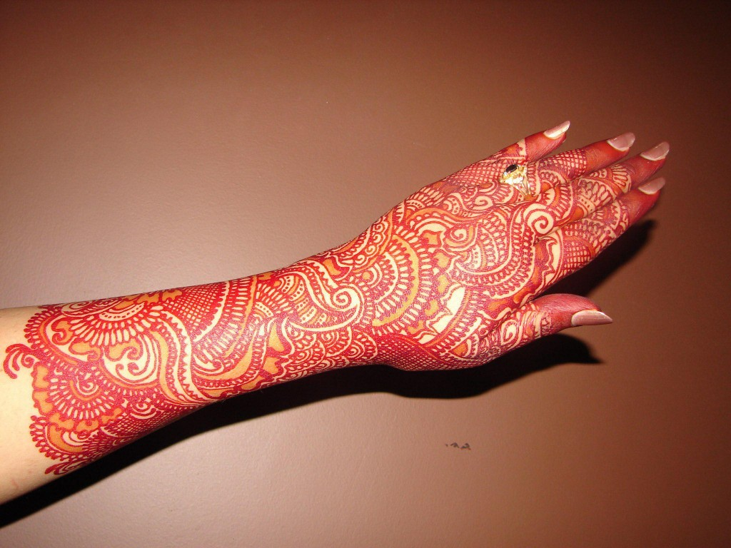 Full Hand Reddish Bridal Mehndi Design