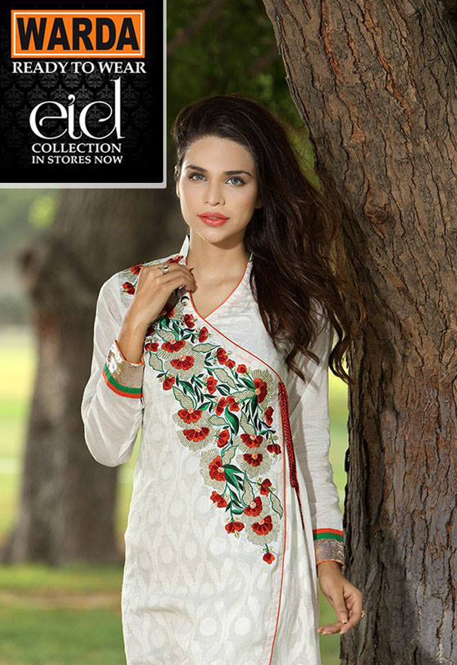 Angrakha Style Ready To Wear Dress By Warda For Eid