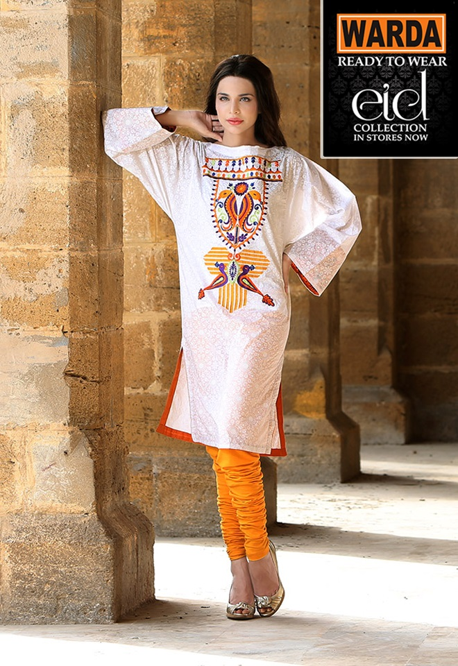 White Embroidered Dress By Warda For Eid 2017