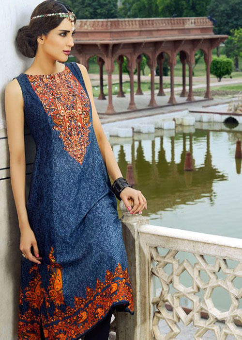 Cobalt Blue Umar Sayeed Eid Dress By Alkaram 2016