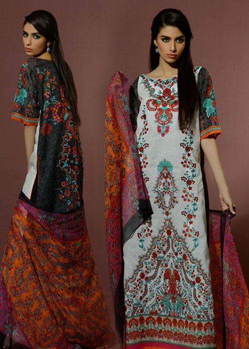 Printed Half Sleeves Eid Wear By Alkaram Studio 2016