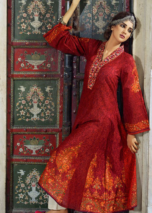 Printed Frock Style Dress By Alkaram Studio For Eid 2016