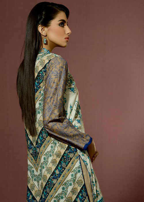 Grey Color Lawn Eid Dress By Alkaram Studio 2016