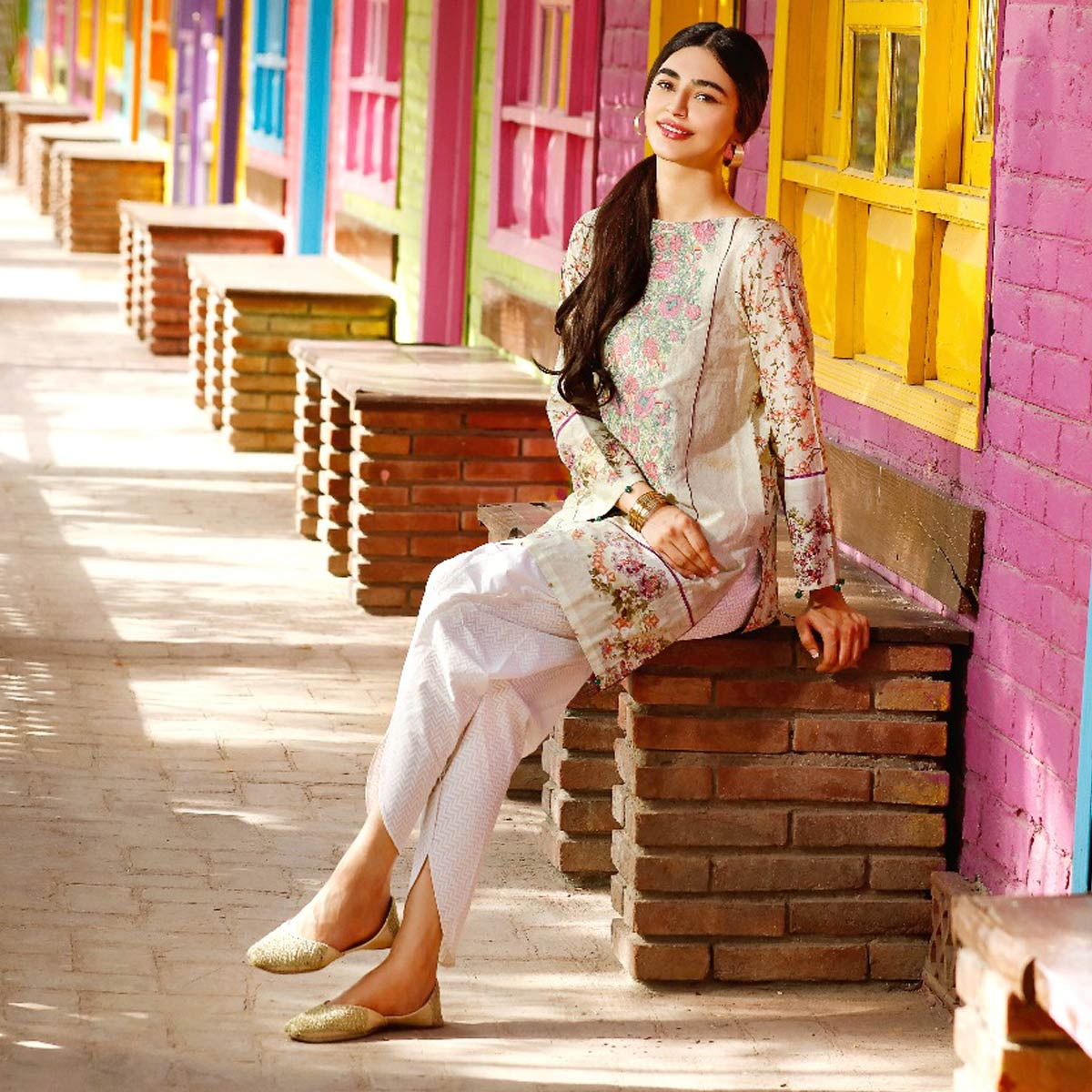Beige Embroidered Border Shirt By Warda For Eid