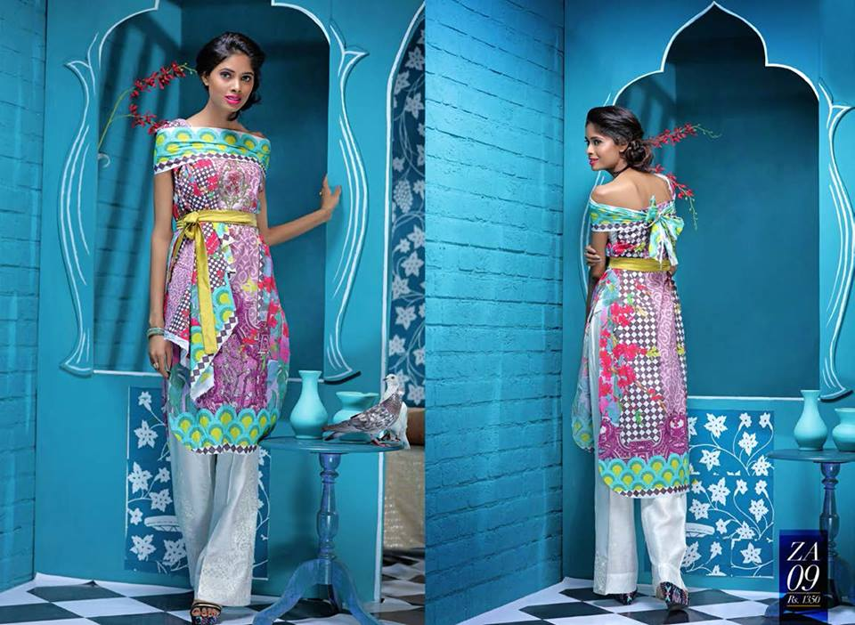 Bow Style Shirt By Zahra Ahmad For Eid 2016