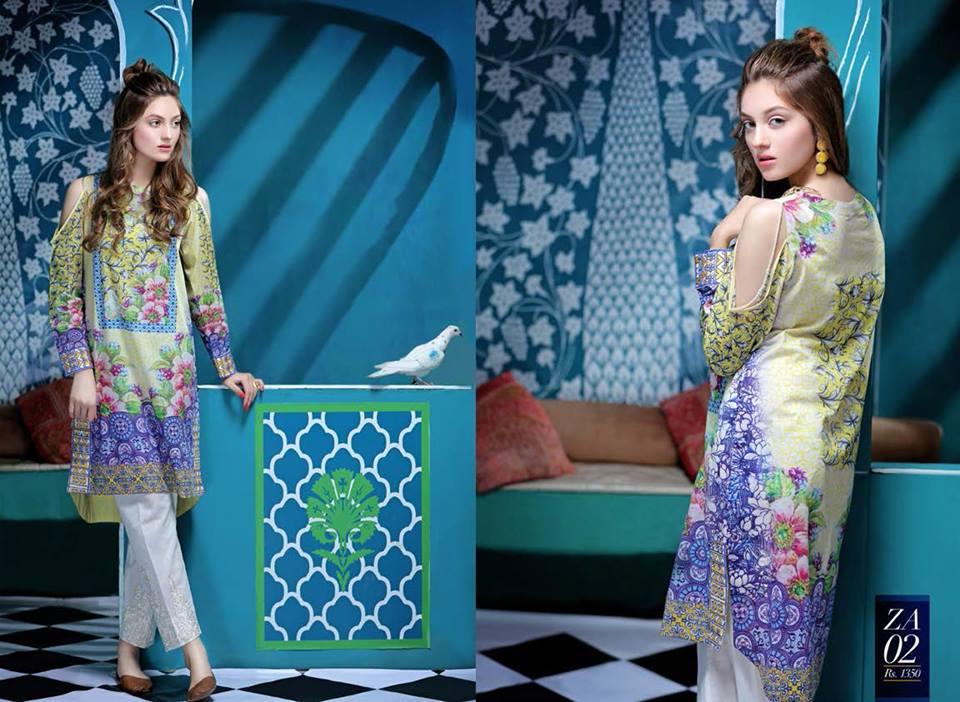 Embroidered Border Attire By Zahra Ahmad For Eid 2016