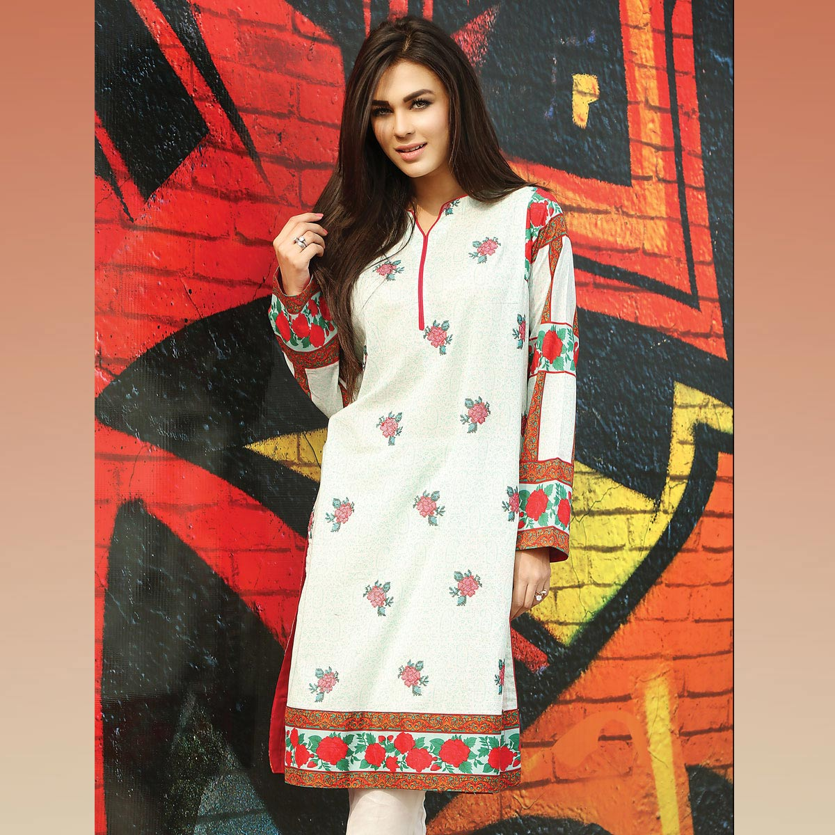 White Embroidered Shirt By Warda For Eid