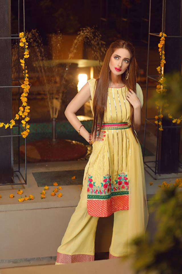 Yellow Dress With Belt By Zahra Ahmad For Eid 2016