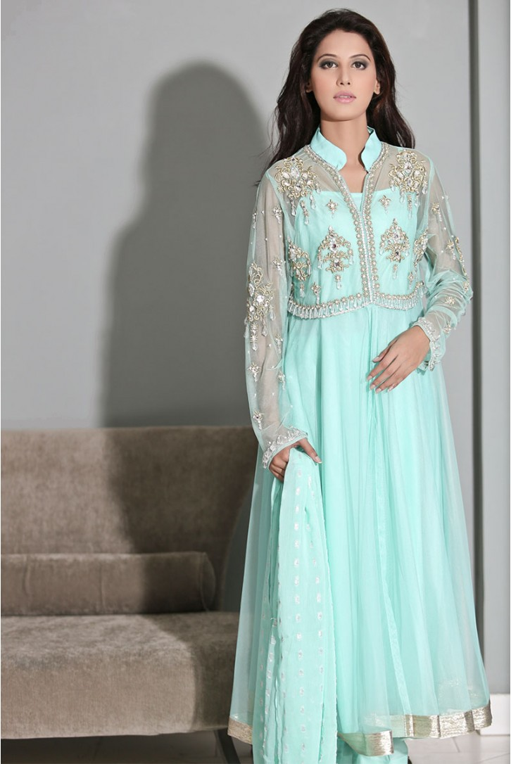 Ice blue Frock by Maria B evening wear 2016