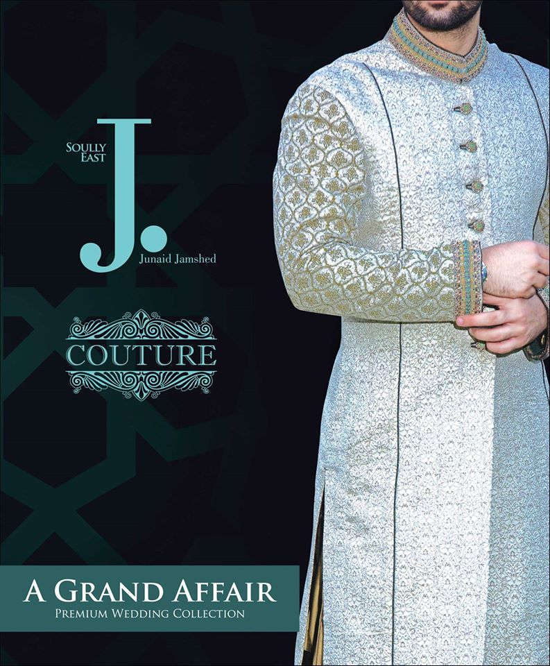 Sky Blue Latest Sherwani Design by Junaid Jamshed