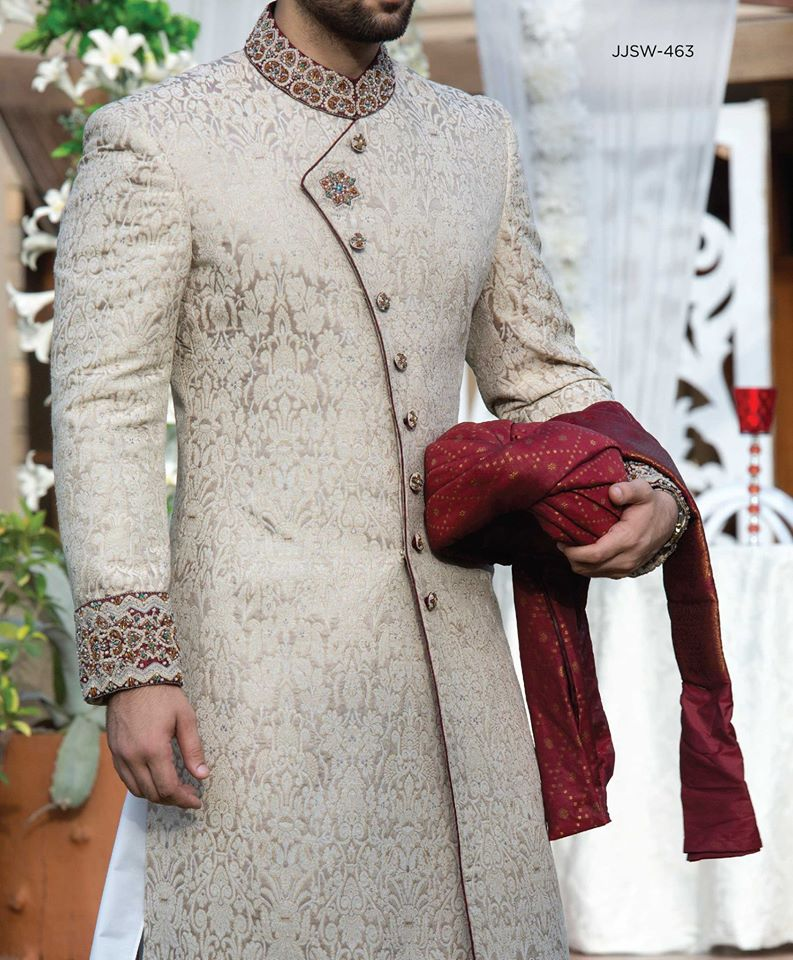 J. Beige Sherwani Wedding Wear for Grooms 2016