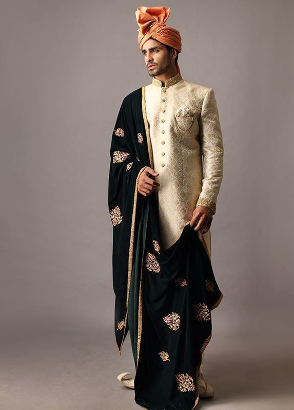 Deepak Perwani Sherwani with Kula for Groom Wedding
