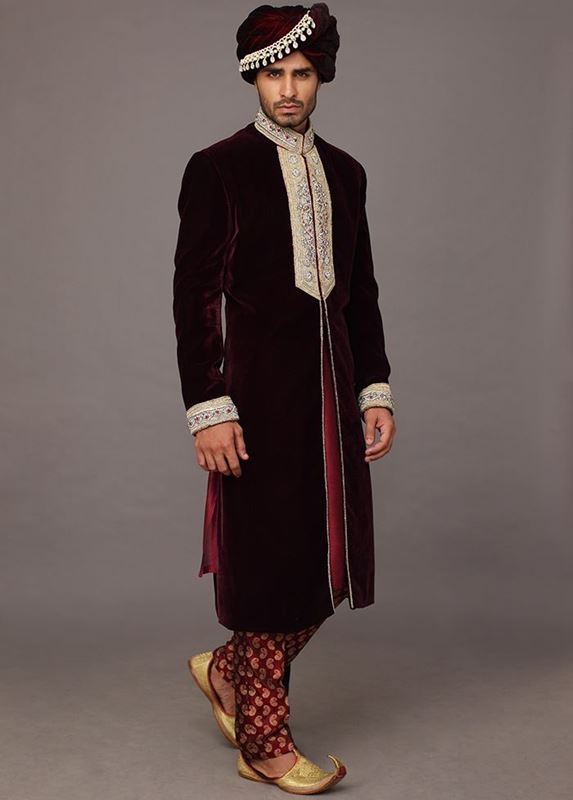 Deep Maroon Sherwani Groom Wear by Deepak Perwani