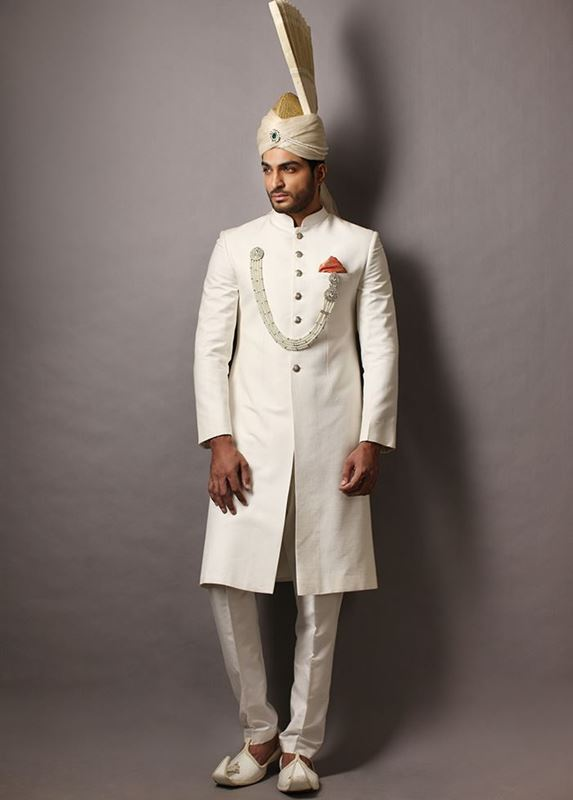 Deepak Perwani White Wedding Sherwani for Groom