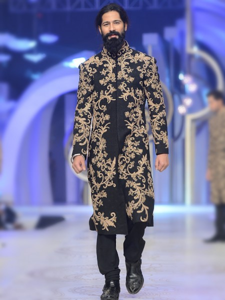 HSY Black Groom Sherwani with Golden Embroidery