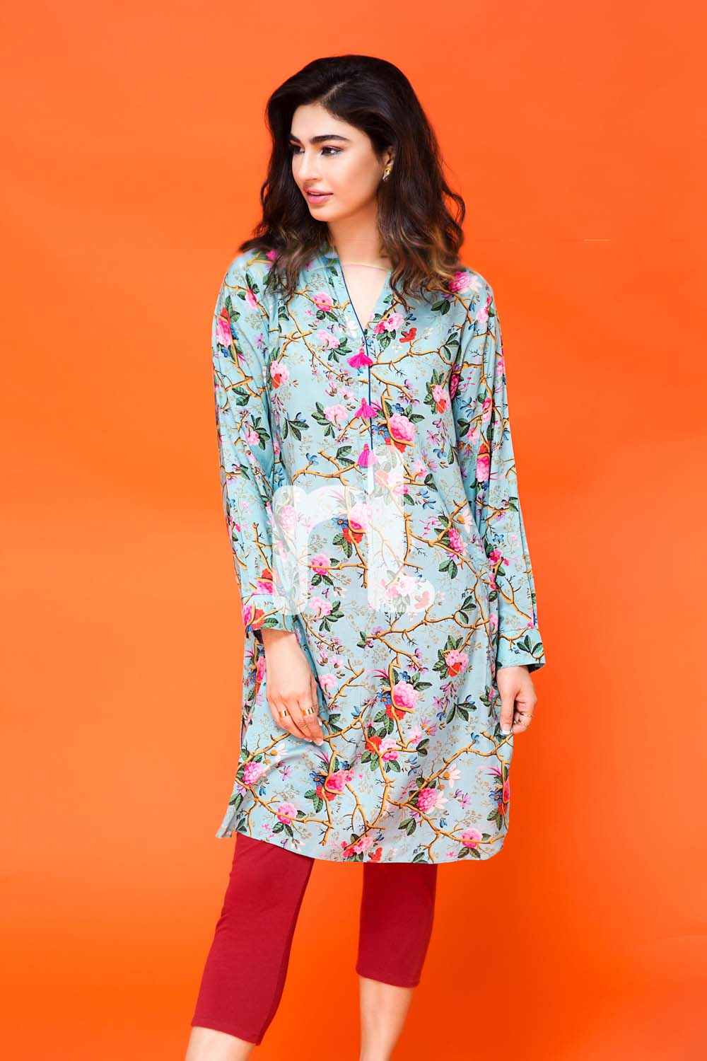 Blue shirt by nishat pret wear collection for fall