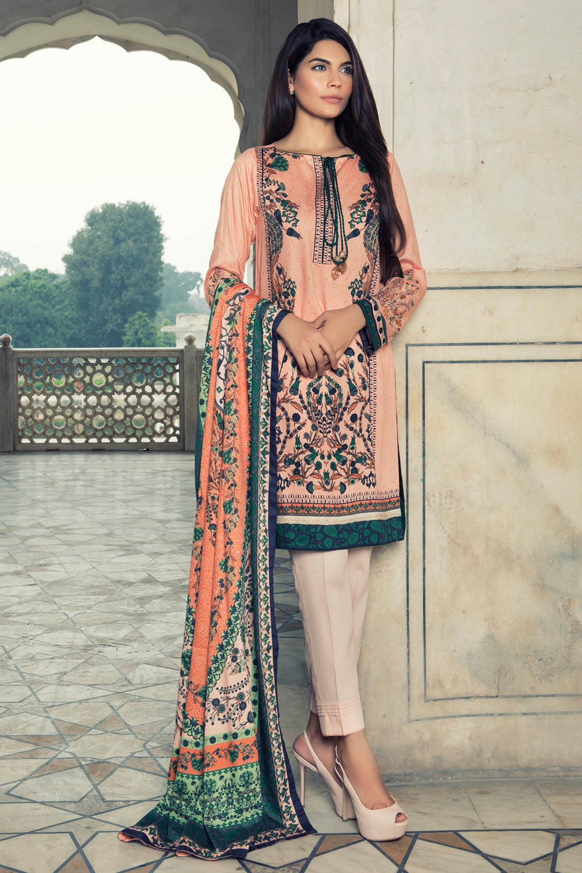 Warda spring summer collection 2016 vol 1 with prices beststylo com - Embroidered Peach Suit For Fall By Al Karam