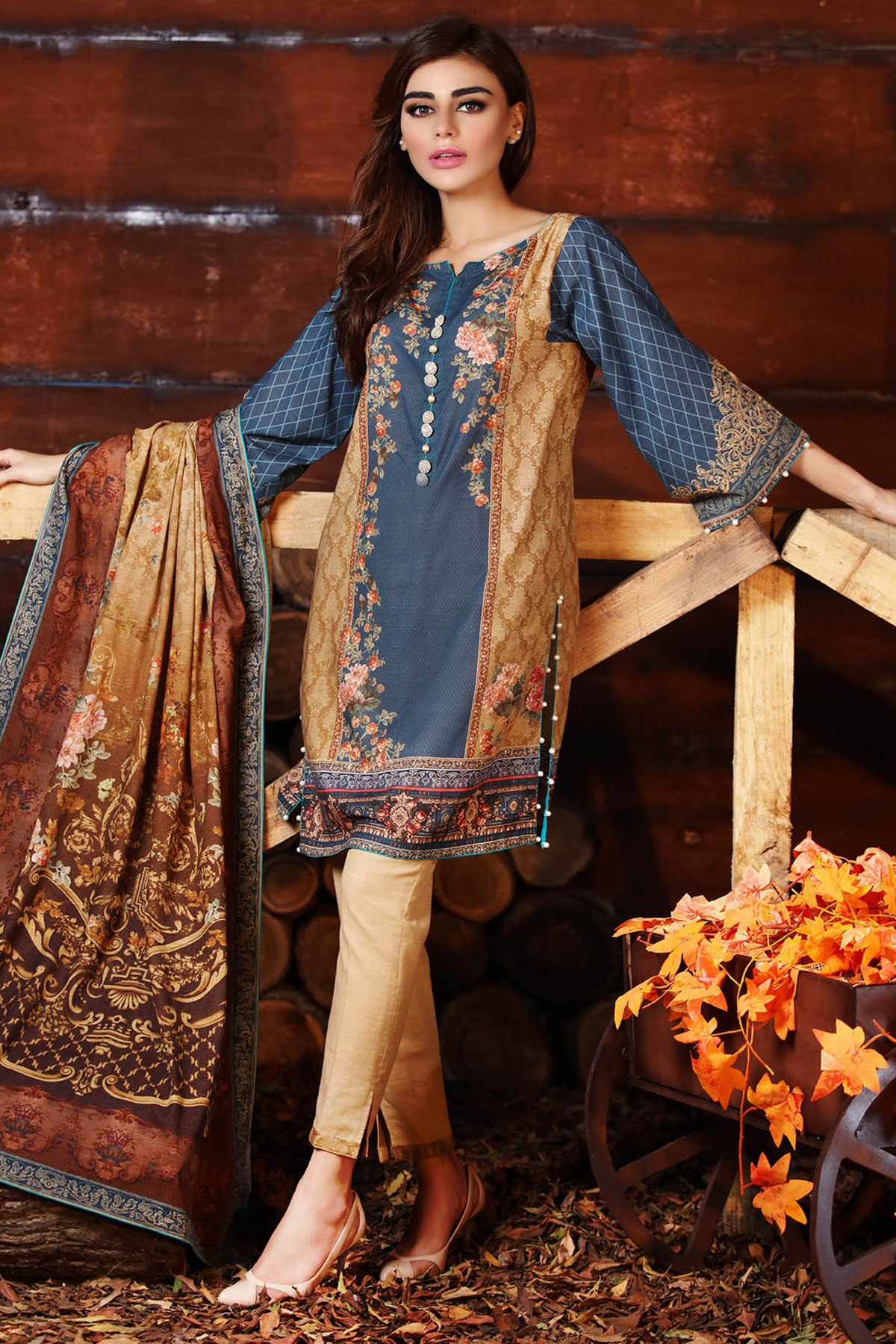 Blue and rust dress for fall by alkaram