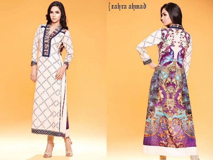 Cream colored dress for winter parties by zahra ahmad