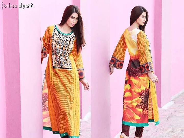 Yellow embroidered dress by zahra ahmad winter wear