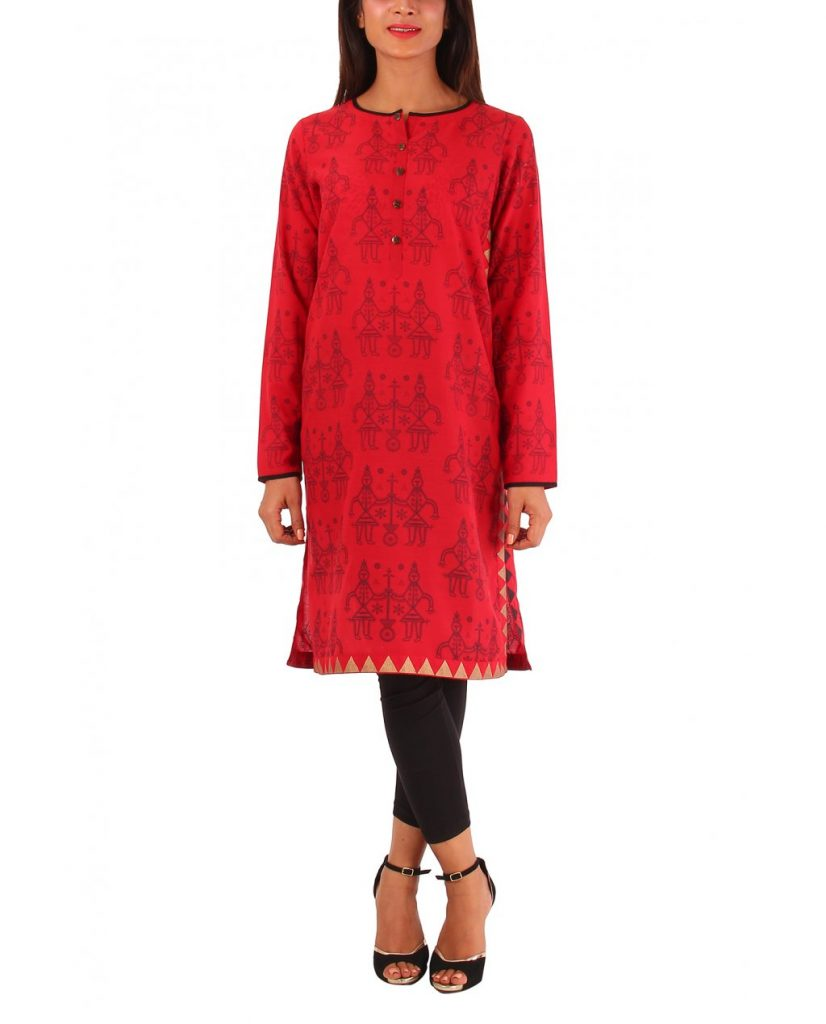 Deep Red Kurta by ego for winter