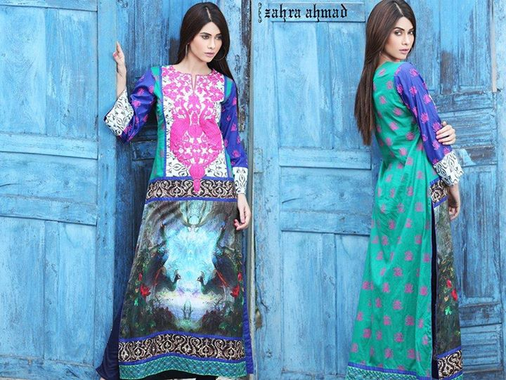 Blue embroidered party wear dress by zahra ahmad for winter