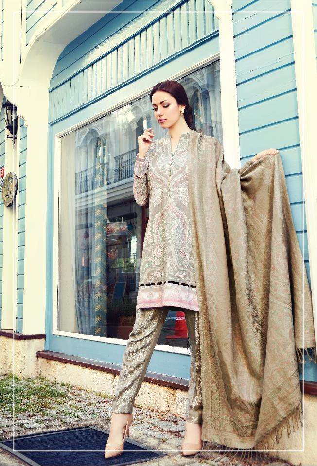 pastel colored dress for winter by maria b linen collection