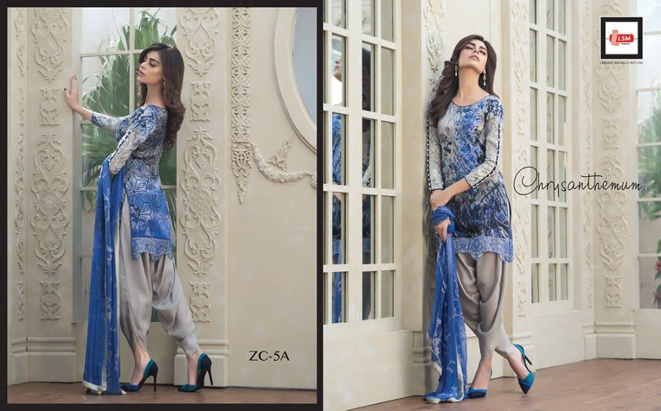 Short silk shirt with tulip pants by zainab chottani's silk collection